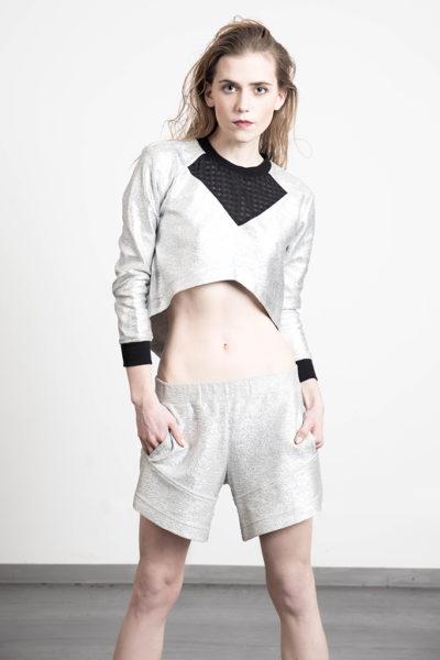 unvtd krótka bluza srebro przód